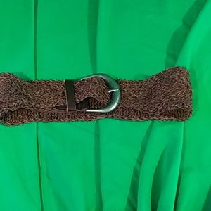 Chico's small brown woven leather wide belt